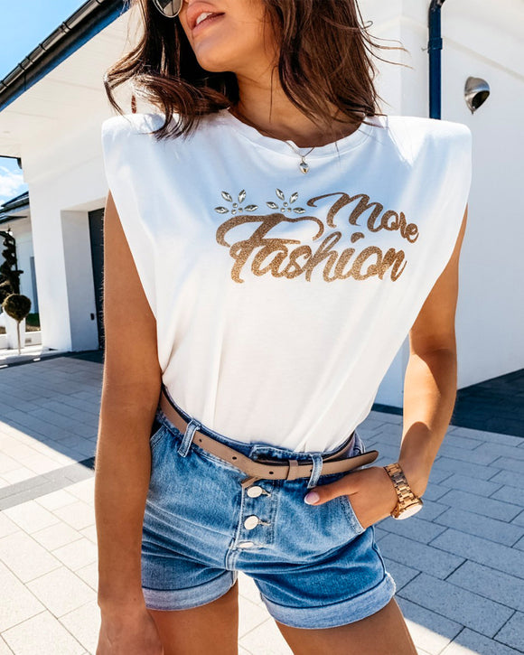 Golden Text Letters Sleeveless T-Shirt