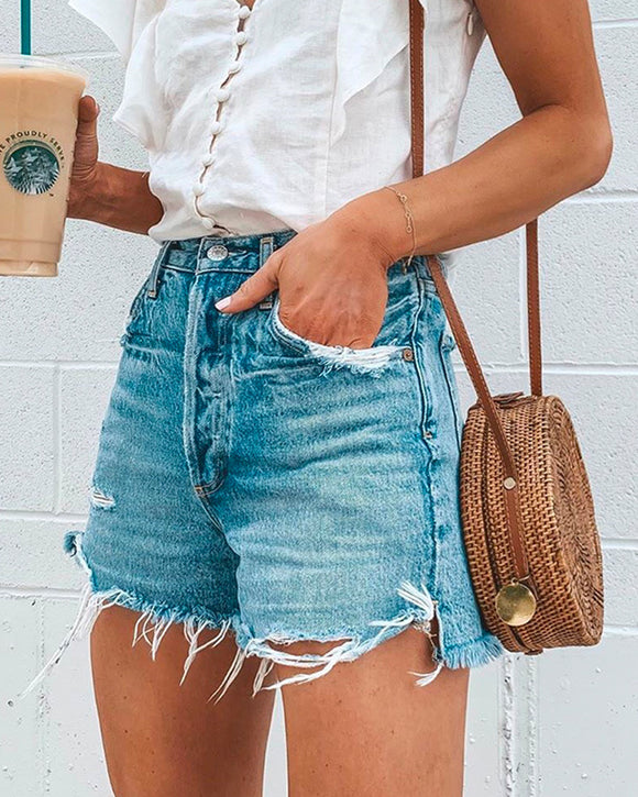 Light Blue Ripped Fringed Jean Shorts