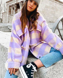 Purple Grid Single-breasted Irregular Hem Coat