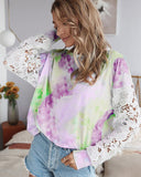 Lace Hollow-out Stitching Tie Dye Blouse T-shirt