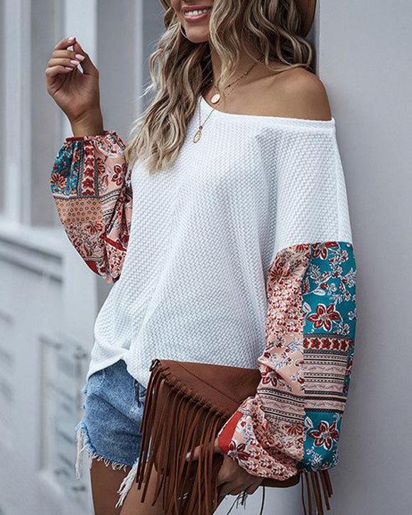 Printed Splicing Batwing Sleeve Bohemian Casual Blouse T-shirt
