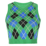 Sleeveless Lattice Knitting Short Vest Sweater
