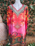 Relax Fit Bohemian Sheer Embellished Multi-Colour Kaftan One Size Fits All 16 to 22