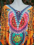 Relax Fit Bohemian Satin Like Embellished Multi-Colour Kaftan One Size Fits All 16 to 24