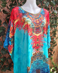 Relax Fit Bohemian Sheer Embellished Multi-Colour Kaftan One Size Fits All 16 to 24