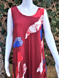 Plus Size Red Geometric Pattern Sleeveless Rayon Long Front Maxi Dress One Size Fits All 16 to 18