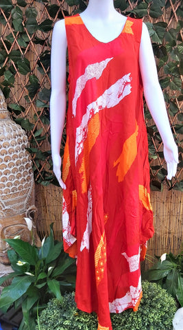 Plus Size Orange Geometric Pattern Sleeveless Rayon Long Front Maxi Dress One Size Fits All 16 to 18