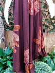 Plus Size Brown Floral Pattern Sleeveless Rayon Long Front Maxi Dress One Size Fits All 16 to 18