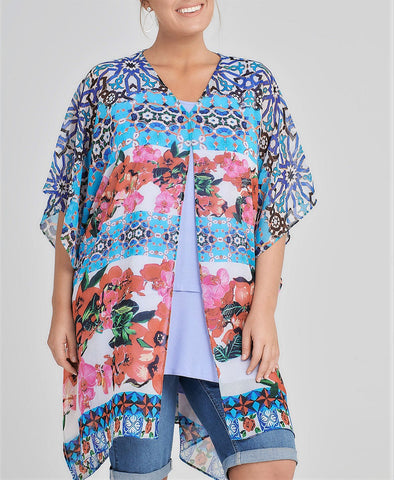Taking Shape Floral Sangria Multi Colour Kimono/Jacket One Size Fits All 16 to 22