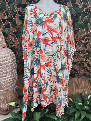 Plus Size Long Floral Polynesian Maxi Kaftan One Size 20 to 26