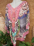 Relax Fit Sheer Embellished Round Hem Kaftan Top One Size Fits All 14 to 20