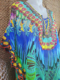 Bohemian Sheer Embellished Kaftan One Size 16 to 20