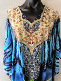 Relax Fitting Sheer Embellished Kaftan Digital Print One Size Fits All 14 to 24