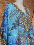 Plus Size Sheer Relax Fit Hippy Bohemian Boho Embellished Kaftan/Tunic One Size Fits All 14 to 18