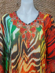 Bohemian Sheer Embellished/Rhinestones Kaftan Straight Hem One Size Fits All 12 to 16