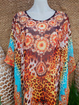 Plus Size Sheer Embellished Kaftan One Size 14 to 20