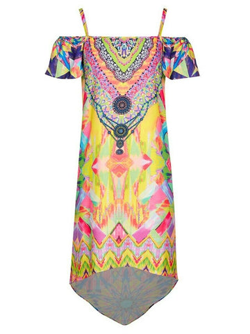 Crossroads Embellished Colourful Cold Shoulder Maxi Dress