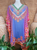 Plus Size Sheer Relax Fit Hippy Bohemian Boho Embellished Kaftan/Tunic One Size Fits All 14 to 20