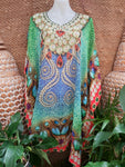 Plus Size Sheer Relax Fit Hippy Bohemian Boho Embellished Kaftan/Tunic One Size Fits All 18 to 22