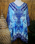 Plus Size Paisley Print Sheer Embellished/Rhinestones Short Kaftan Print One Size Fits All 16 to 20