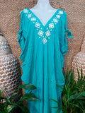 Green Turquoise Rayon Cold Shoulder Relax Fit Bohemian Kaftan One Size Fits All 16 to 20