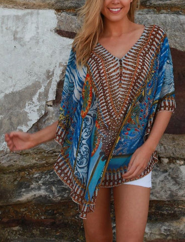 Relax Fit Bohemian Sheer Embellished Kaftan Top Round Hem One Size Fits All 14 to 20