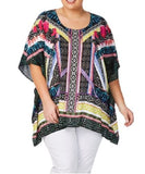 Plus Size Beme Viscose Tropical Print Kaftan/Tunic One Size 16 to 20 Or S/M