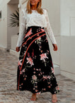 Bohemian Relaxed Navy Blue Floral Long Maxi Skirt
