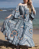 Bohemian Paisley Off The Shoulders Tassels 3/4 Bell Sleeves Maxi Dress