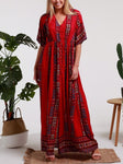 Bohemian Reddish/Pink 3/4 Sleeves Front Split Stretch Waist Maxi Dress Size 12
