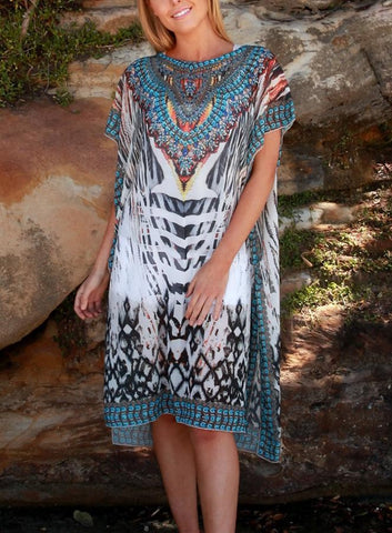 Relax Fit Animal Print Sheer Knee Length Embellished Kaftan/Dress One Size Fits All 16 to 20