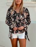 Bohemian Black Floral Button Front Long Sleeve High/Low Hem-Lightweight Shirt