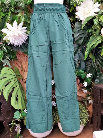 Relax Fit Viscose Army Green Straight Leg Palazzo Pants With Elastic Waist
