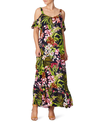 Tropical Polynesian Floral Cold Shoulder Layered Front Scoop Neck Maxi Dress
