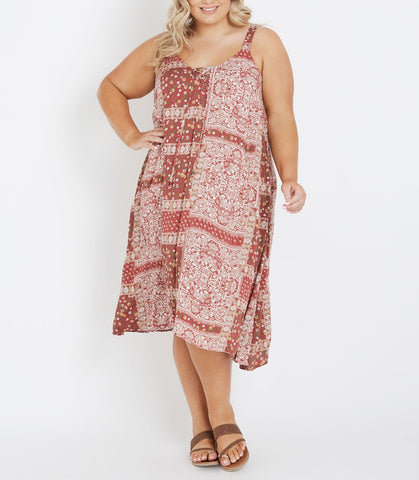Bohemian Paisley Plus Size Autograph V-Neck Adjustable Straps Maxi Dress
