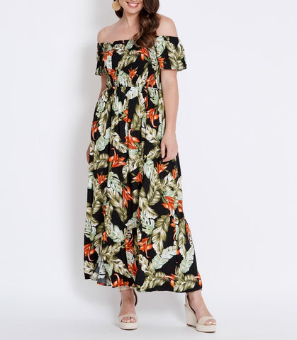 Bohemian Off The Shoulders Shirred Bust Floral Maxi Dress With Front Split