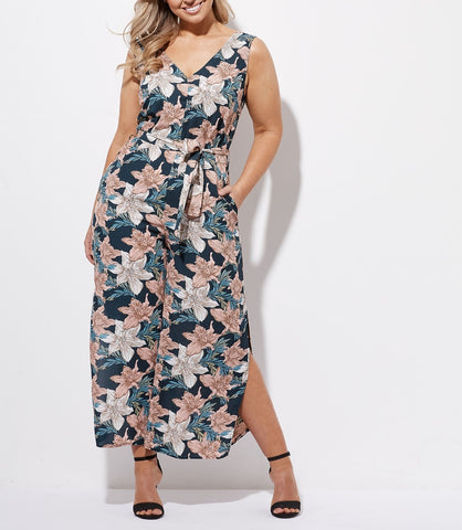 Crossroads Sleeveless V-Neck Waist Tie Floral Wide Leg With Splits Jumpsuit