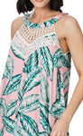 Tropical Green Hanky Hem Viscose Floral Sleeveless Embellished Midi Dress Size 20
