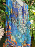 Bohemian Relax Fit Colourful Summer Chiffon Round Hem Embellished Kaftan