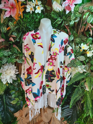 Relax Fit Bohemian Floral With Tassels Kimono Jacket Dolman Sleeve One Size Fits All 16 to 20