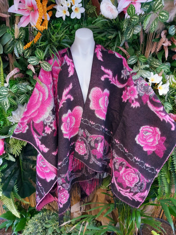 FLORAL TASSEL BLACK & PINK WOOL & ACRYLIC CAPE/CARDIGAN/JACKET ONE SIZE 16-18-20