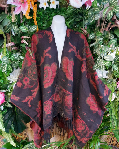 FLORAL TASSEL BLACK & RED WOOL & ACRYLIC CAPE/CARDIGAN/JACKET ONE SIZE 16-18-20