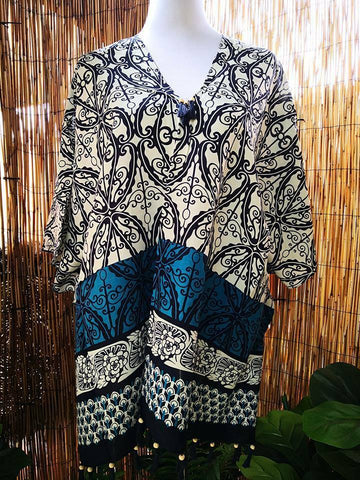 Cotton/Viscose Tassel Beach Cover Up Kaftan/Poncho One Size Fits All 12 to 16