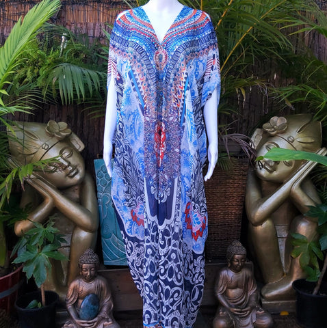 Plus Size Blue Cold Shoulder Sheer Embellished Long Kaftan Dress One Size Fits All 14 to 20