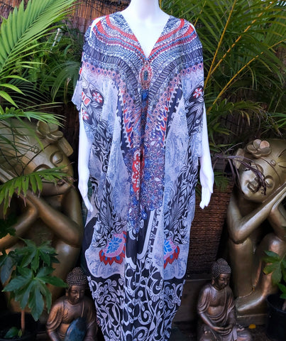 Plus Size Black Cold Shoulder Sheer Embellished Long Kaftan Dress One Size Fits All 14 to 20