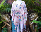 Plus Size Relax Fit Polynesian Floral Kaftan One Size 18 to 24