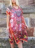 Relax Fit Bohemian Sheer Embellished Kaftan/Dress One Size 16 to 20