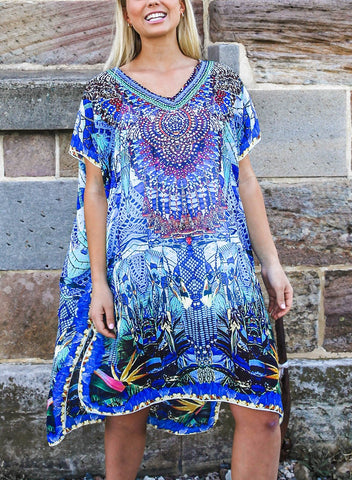 Relax Fit Bohemian Sheer Knee Length Embellished Kaftan/Dress One Size Fits All 16 to 20