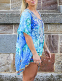 Relax Fit Bohemian Sheer Embellished Kaftan Top Straight Hem One Size Fits All 18 to 24