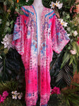 Pink Oversize Long Embellished Short Sleeve Kimono Jacket OSFA 14-16-18